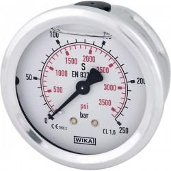 """B711W063250T, W063250T Manometr glicerynowy O63 mm, 250 bar, przyłącze tylne 1/4"""""""