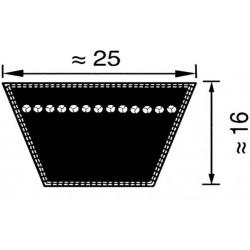 PK253350, 25X16 3350 Pas klinowy klasyczny DIN 2215 profil 25, 3350 mm