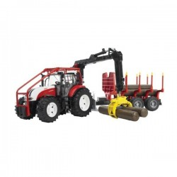 U03093, U 03093, 60003093 Traktor Steyr CVT 6230 z HDS, przyczepą leśną i belami